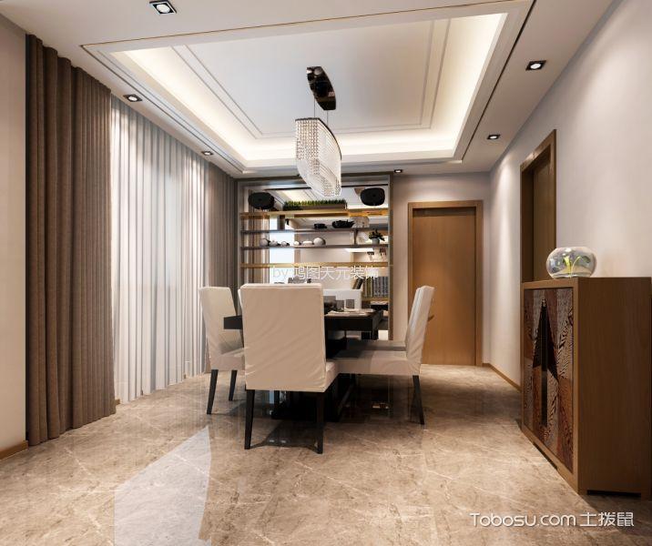 餐厅灰色地砖新中式风格装饰设计图片