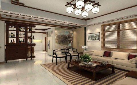 中式风格90平米套房新房装修效果图