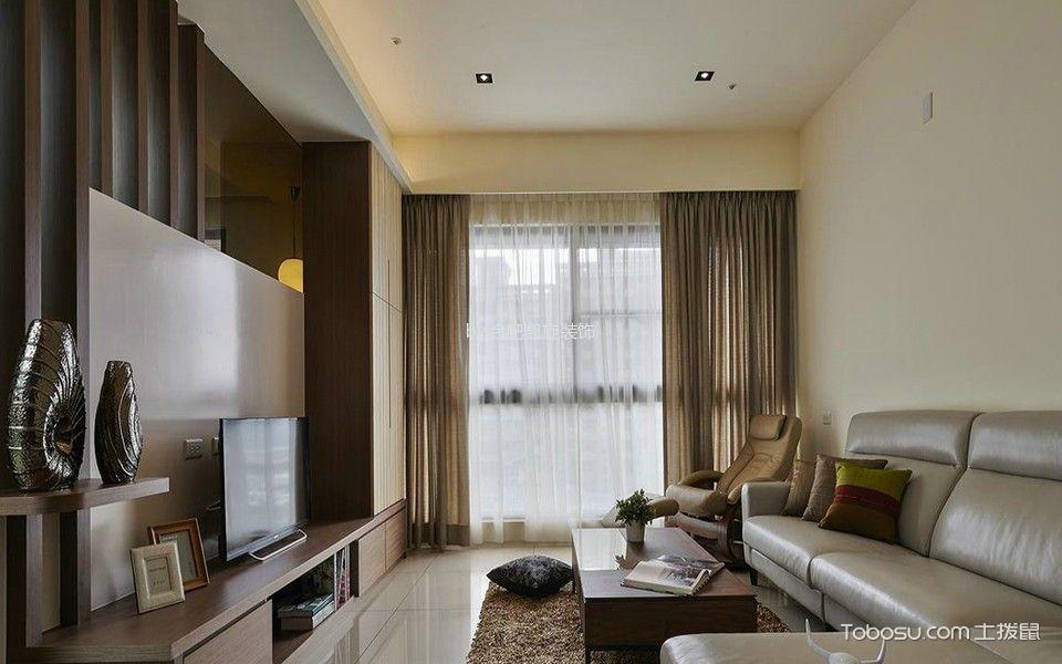 客厅咖啡色窗帘韩式风格装饰设计图片