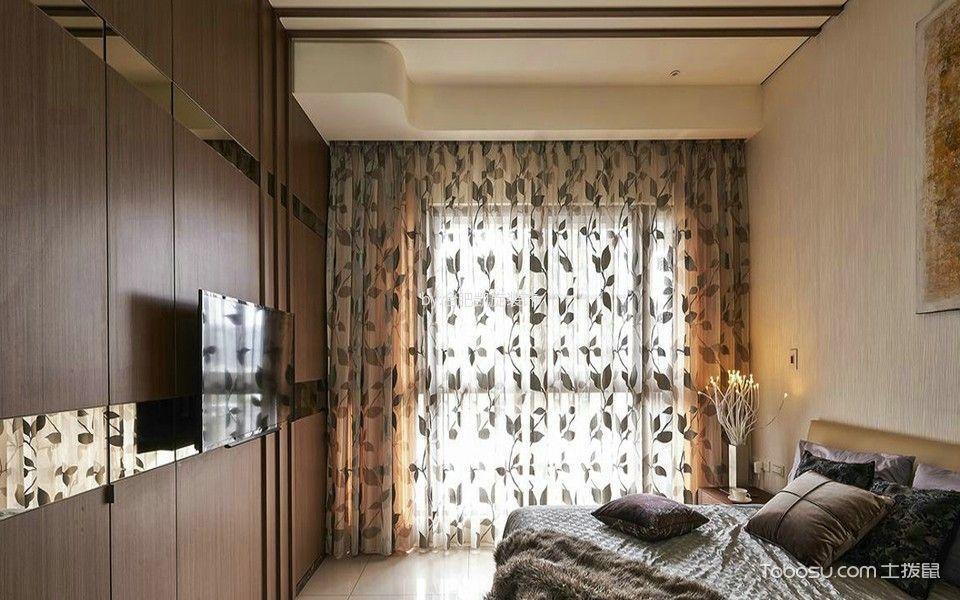 卧室彩色窗帘韩式风格装潢设计图片