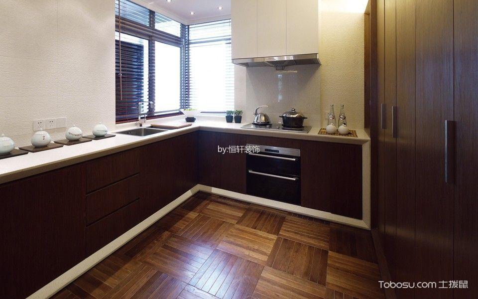 厨房红色橱柜中式古典风格装潢图片