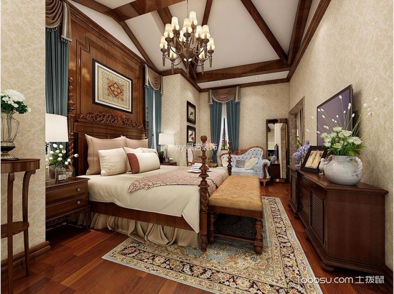卧室咖啡色电视柜美式风格效果图