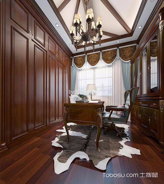 书房咖啡色地板砖美式风格装修效果图