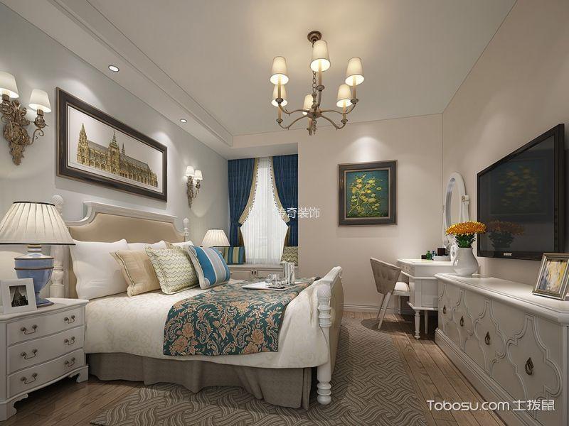 卧室白色电视柜美式风格装潢效果图
