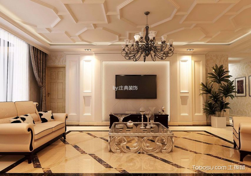 简欧风格90平米两室两厅新房装修效果图