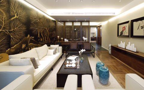 中式古典风格120平米两室一厅新房装修效果图