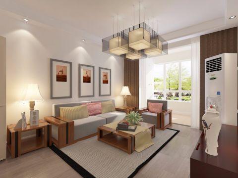 新中式风格92平米两室两厅新房装修效果图