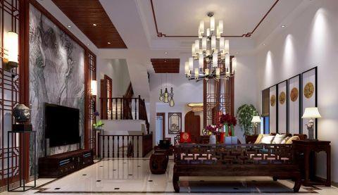 新中式风格340平米别墅新房装修效果图