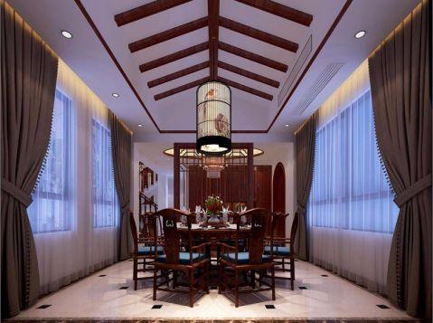 餐厅窗帘新中式风格装潢设计图片