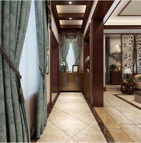 玄关窗帘美式风格装潢图片