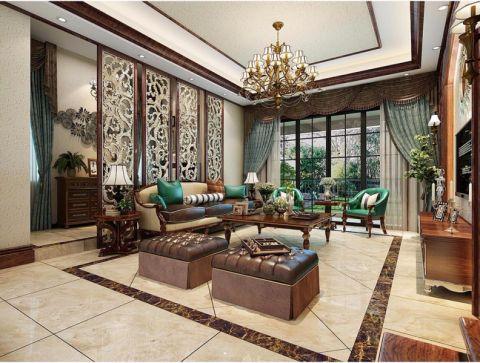 美式风格240平米别墅室内装修效果图