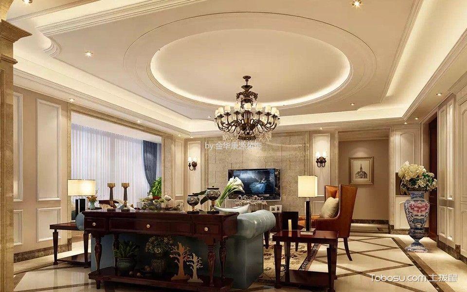 客厅黄色地砖简欧风格装饰设计图片