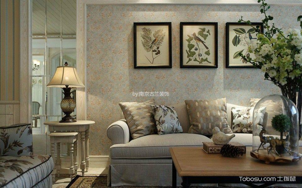 客厅 背景墙_田园风格140平米三室两厅新房装修效果图