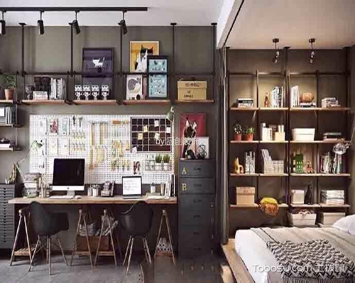 卧室咖啡色书桌北欧风格装潢图片