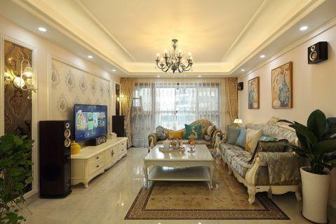 欧式风格113平米三室两厅室内装修效果图