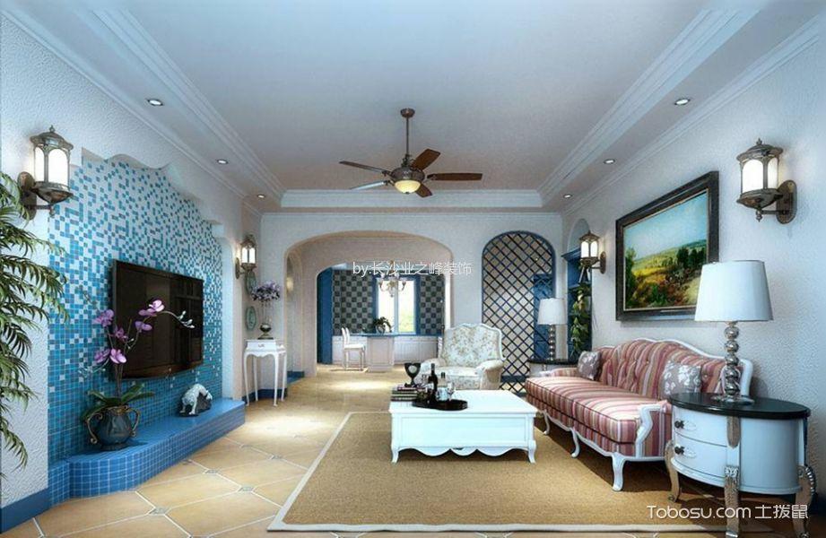 地中海风格89平米两室两厅新房装修效果图