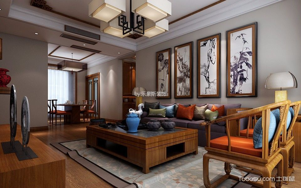 保利花园三居室新中式风格