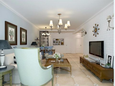 客厅电视柜美式风格装潢图片