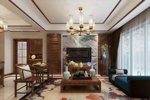 简约中式风格90平米三室两厅室内装修效果图