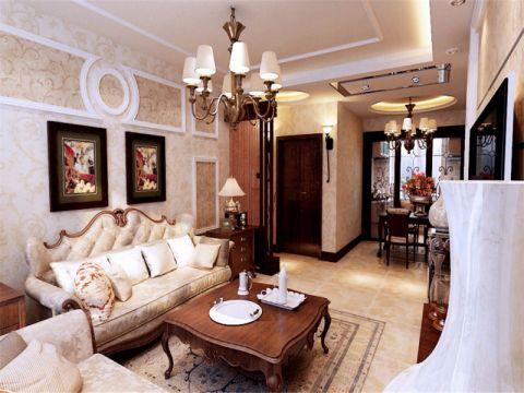 美式风格130平米三室两厅房子装修效果图