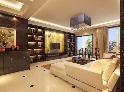 客厅博古架新中式风格装修设计图片