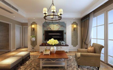 美式风格112平米三室两厅新房装修效果图