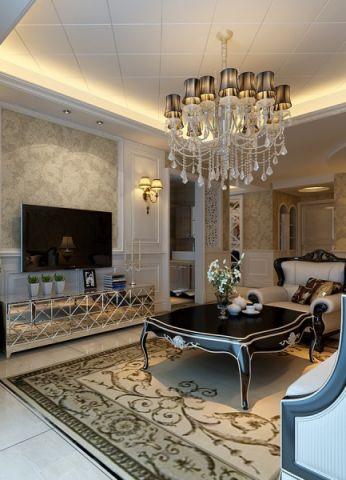 客厅茶几欧式风格装潢图片
