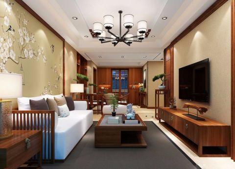 现代中式风格120平米套房室内装修效果图