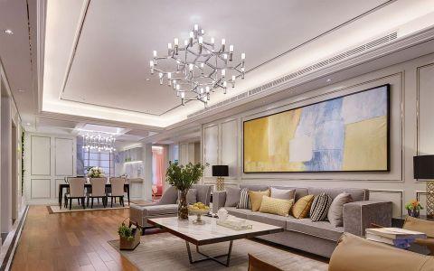 现代简约风格130平米三居室室内装修效果图
