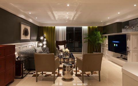 客厅吊顶美式风格装修设计图片