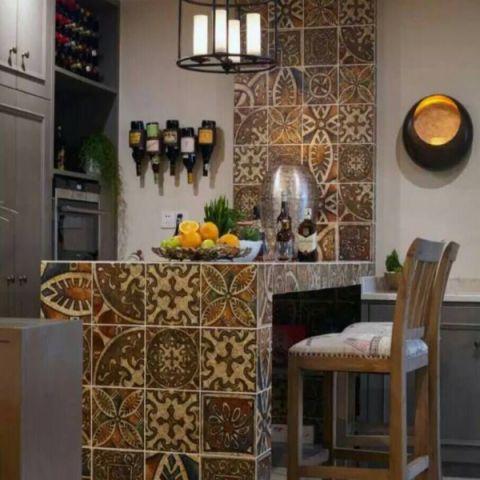 厨房吧台混搭风格装修图片