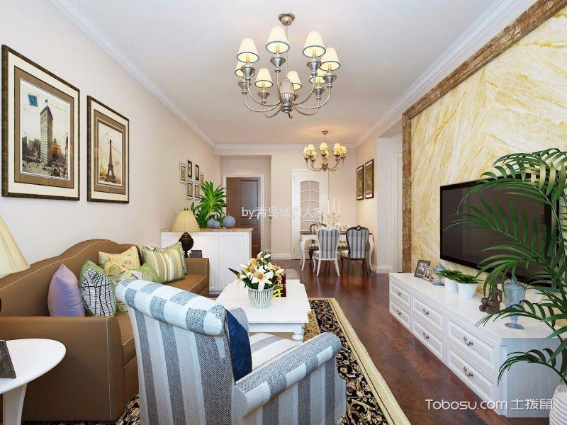 客厅 吊顶_简欧风格87平米两室两厅室内装修效果图