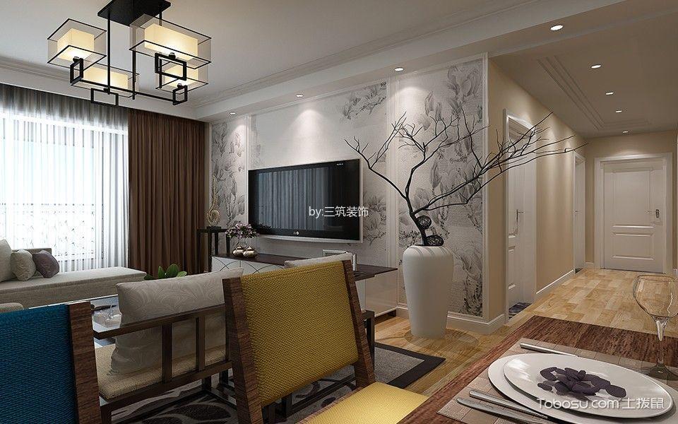 现代中式风格100平米三室两厅新房装修效果图