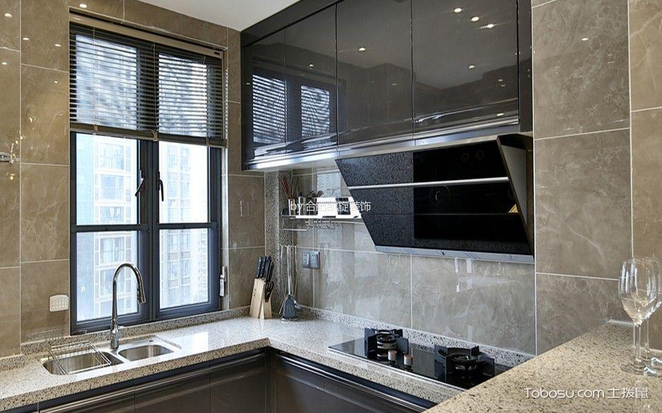 厨房灰色背景墙混搭风格效果图
