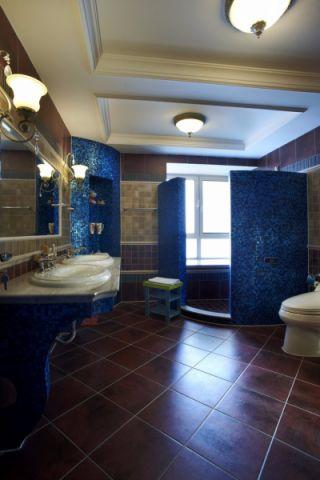 卫生间地砖地中海风格装修设计图片