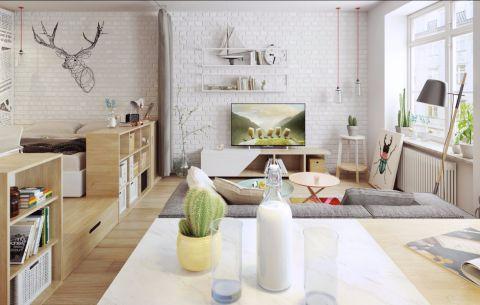 北欧风格113平米三室两厅新房装修效果图