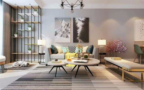 现代简约风格90平米公寓新房装修效果图