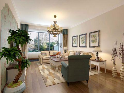 美式风格76平米两室两厅新房装修效果图