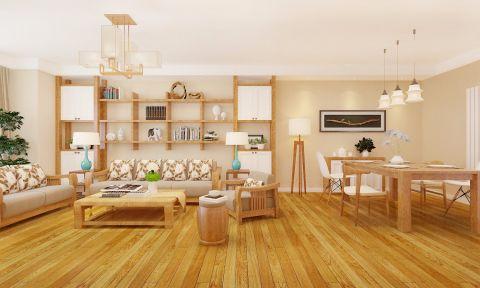 客厅博古架日式风格效果图