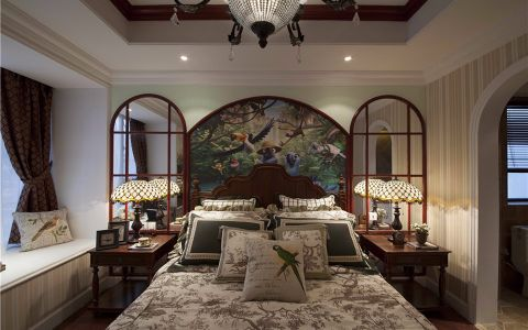 卧室飘窗美式风格装饰设计图片
