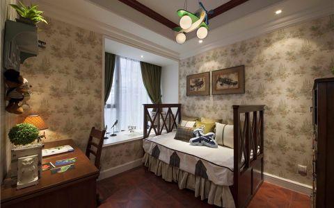 书房背景墙美式风格装潢设计图片