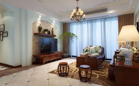 美式风格140平米三室两厅新房装修效果图