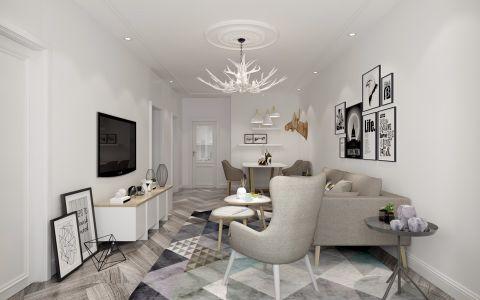 简约风格110平米三室两厅新房装修效果图
