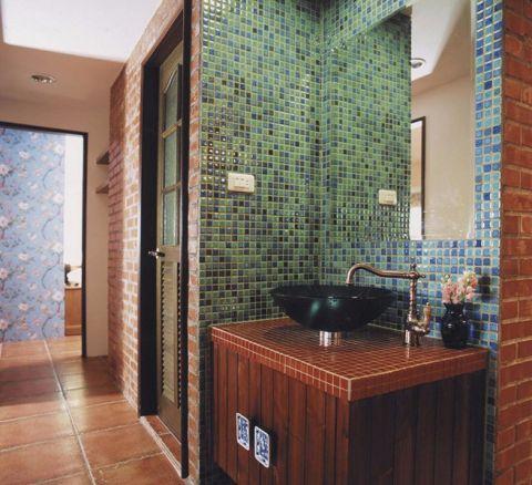 卫生间背景墙田园风格装饰图片