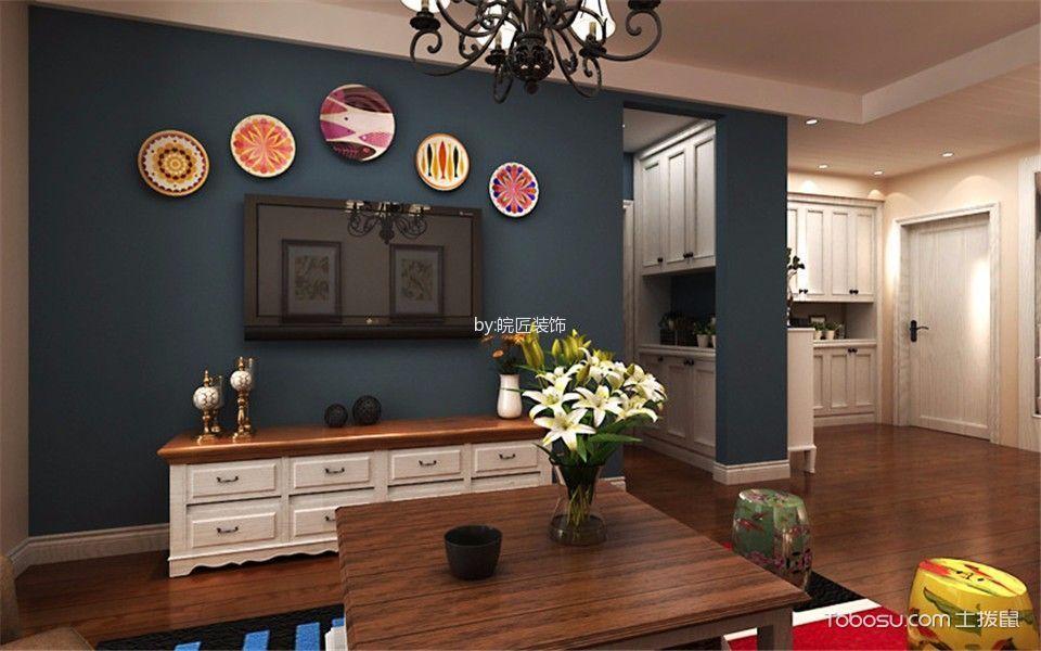 客厅白色电视柜混搭风格装饰图片