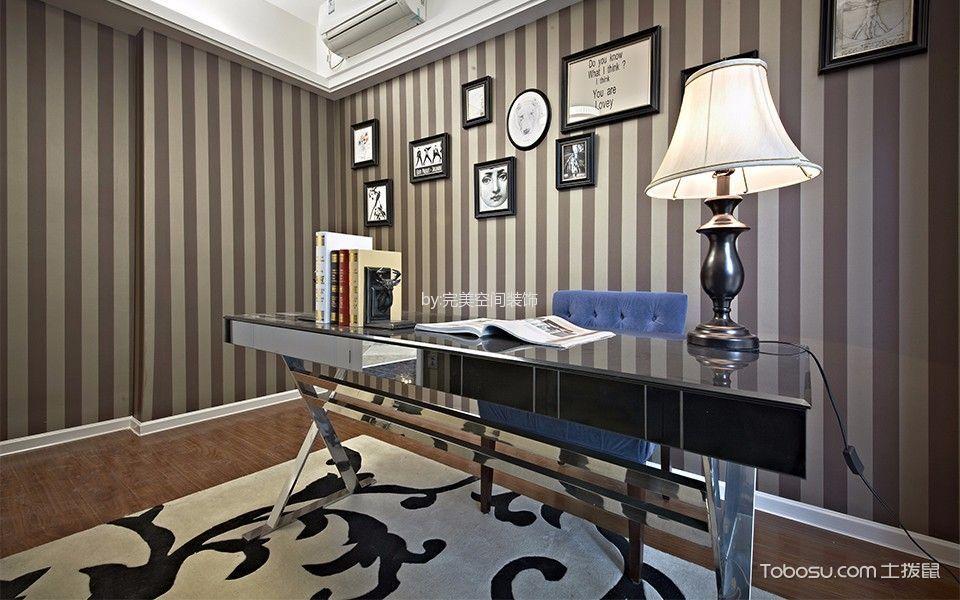 书房咖啡色照片墙现代风格效果图