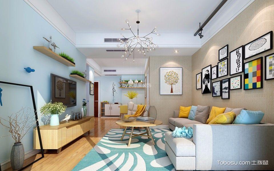 客厅黄色茶几北欧风格装饰图片