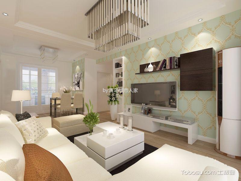客厅 电视柜_现代简约风格86平米两室两厅新房装修效果图