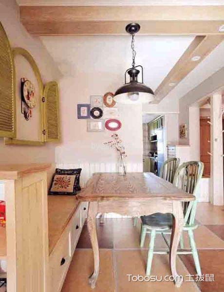 餐厅彩色吊顶混搭风格装修图片