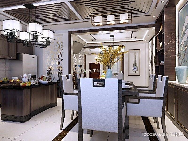 餐厅白色地砖中式风格装饰设计图片